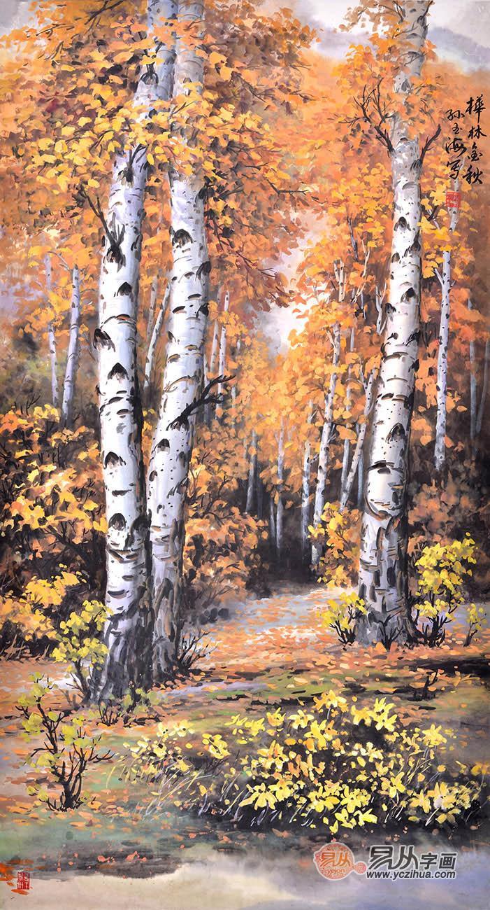 白桦林风景油画竖幅分享展示