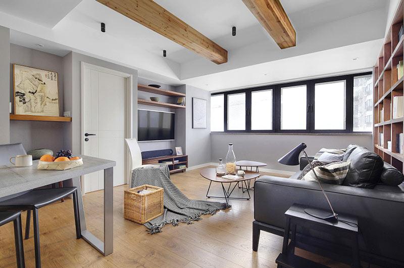 125平北欧风格公寓客厅木地板装修