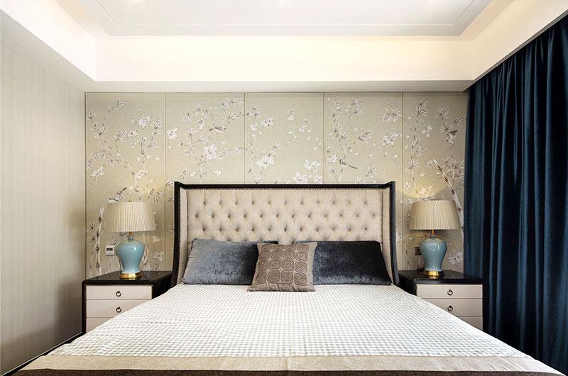 320平新中式风格别墅卧室壁纸装修图