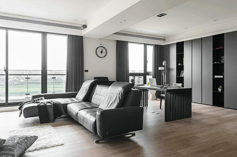 简约风格亲子公寓装修真皮沙发图片