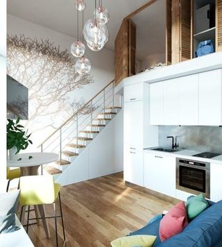 40平时尚loft风格装修效果图 很有小别墅的感觉1/8