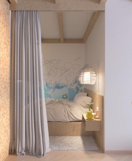 80平时尚个性两居室装修图卧室效果图