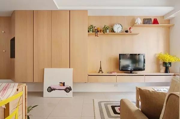 110平清新工业风格装修电视背景墙效果图