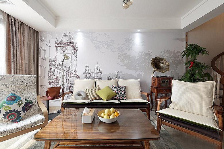 120平北欧风格装修复式美家复式客厅设计