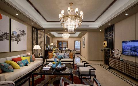 20万以上120平米中式三居室装修效果图,宝兴翠园a栋林图片