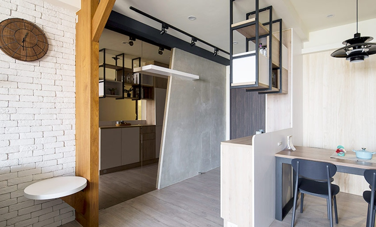 70平两居室北欧风格装修效果图吧台设计