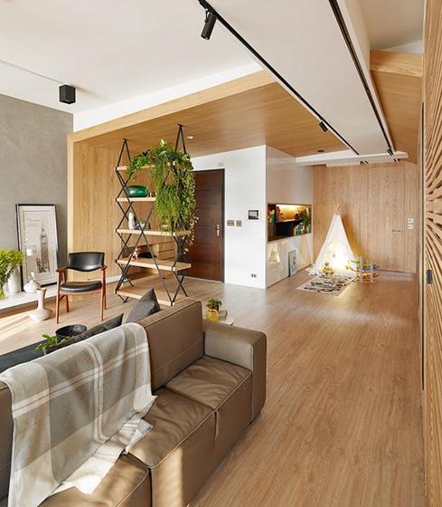 100平原木色两居室装修图片原木色家居设计图