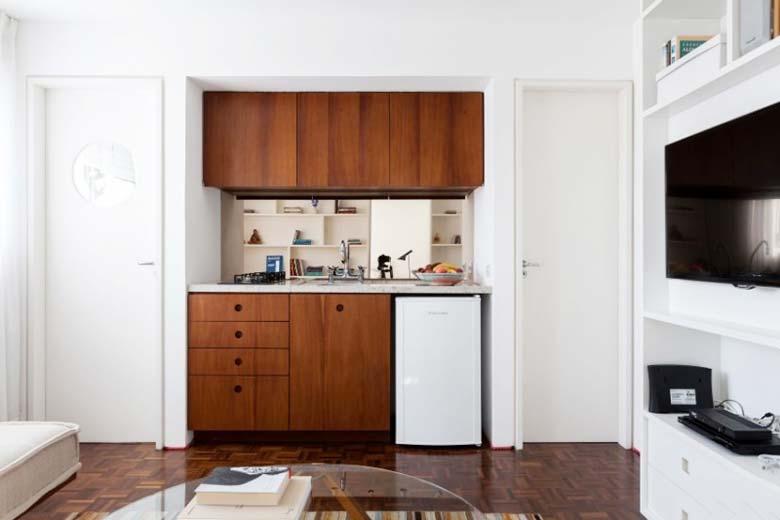 30㎡简约风格单身公寓厨房装修图