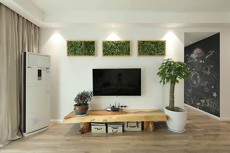 30万全包120平三居室装修电视背景墙设计图