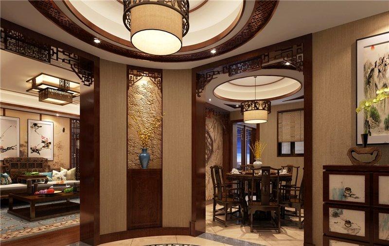 5-10万100平米中式二居室装修效果图,江临天下 中式图片