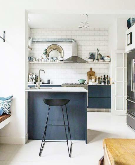冷色系厨房装修装饰效果图