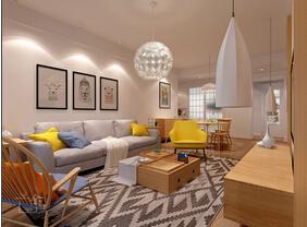 110平北欧风格两居室装修 如清风扑面