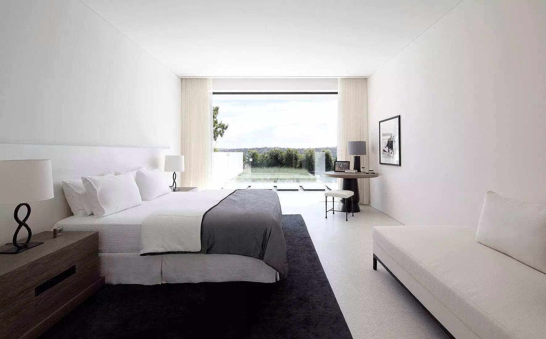 极简卧室黑白摄影白极简装修风格卧室图片4