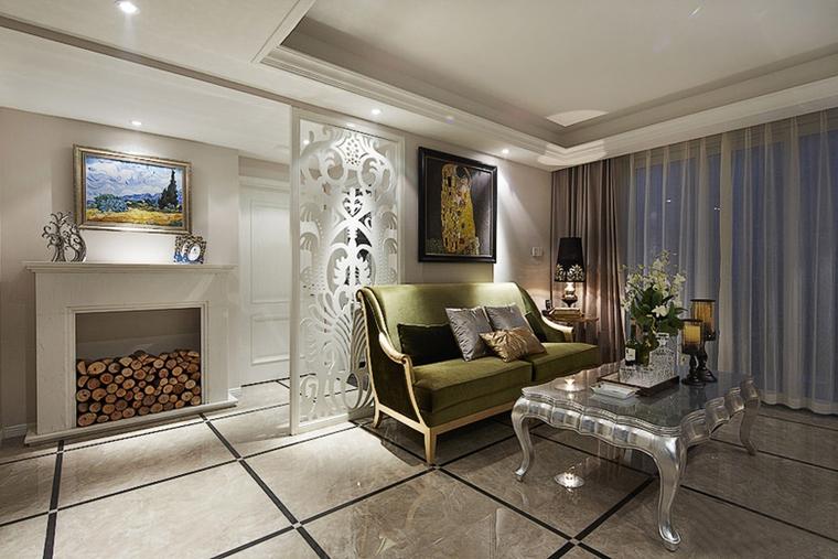 90平混搭风格两居室装修客厅隔断效果图