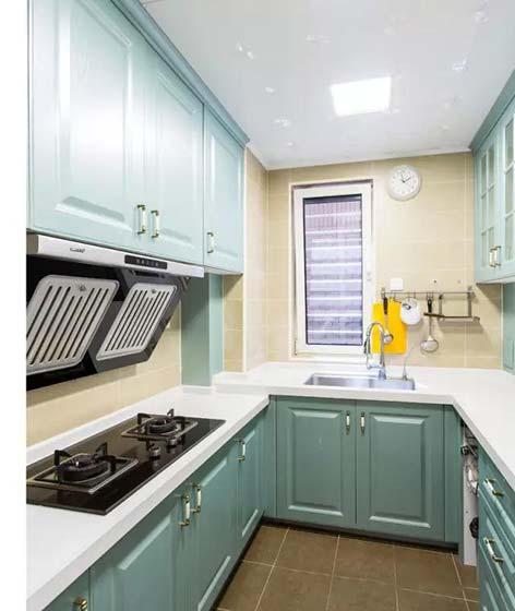 绿色系厨房装修构造图