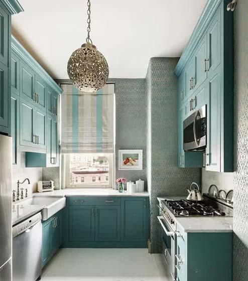 绿色系厨房设计平面图