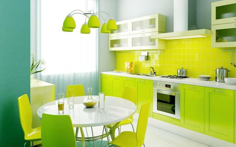 绿色系厨房设计布置图