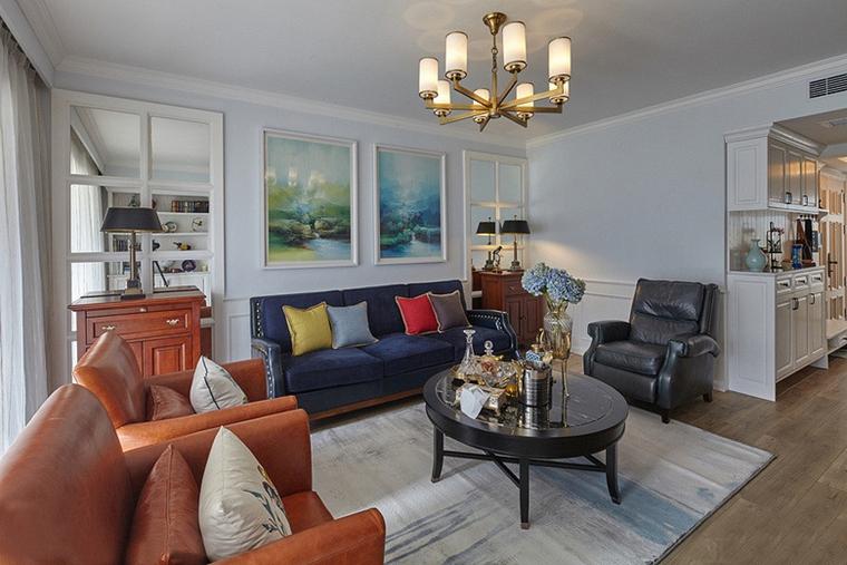 三室两厅美式风格装修客厅效果图