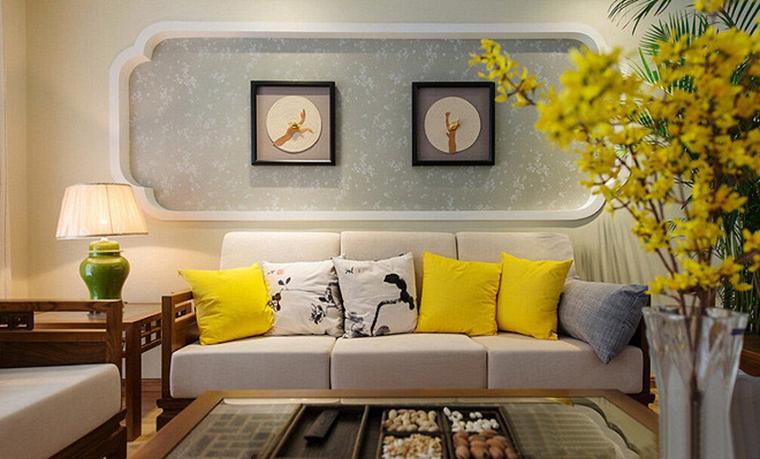 120平中式风格装修客厅效果图