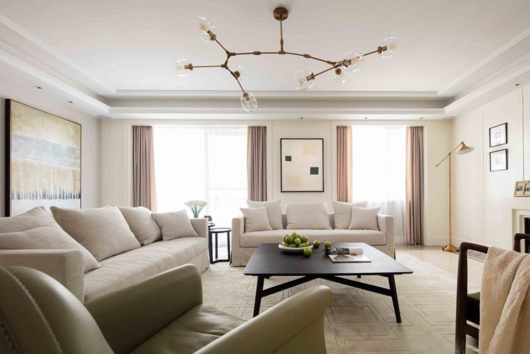 120平美式风格装修客厅布艺沙发图片