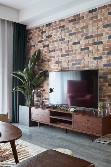 90平混搭风格装修电视背景墙设计图