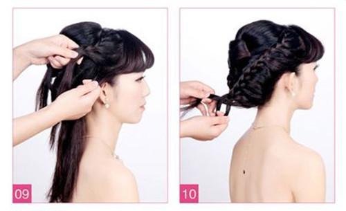 斜刘海新娘发型图片 2017斜刘海编辫子发型图解
