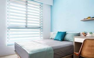 蓝色系卧室设计实景图