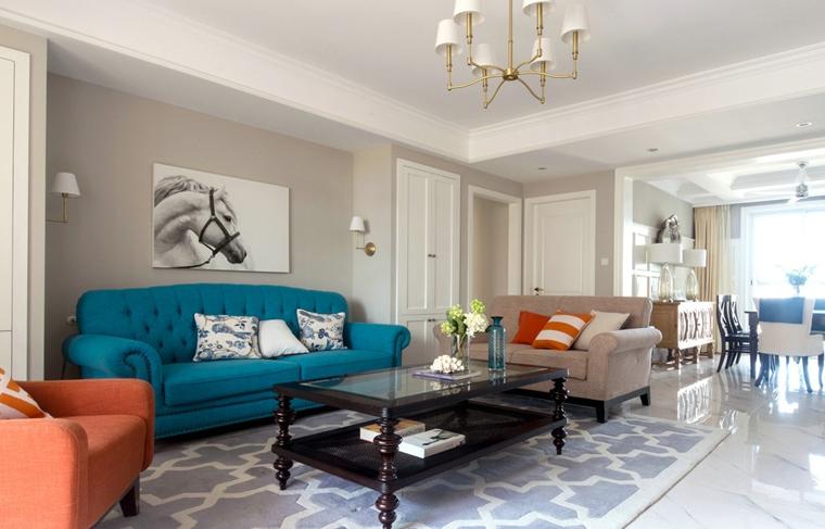 简美风格三室两厅装修客厅效果图