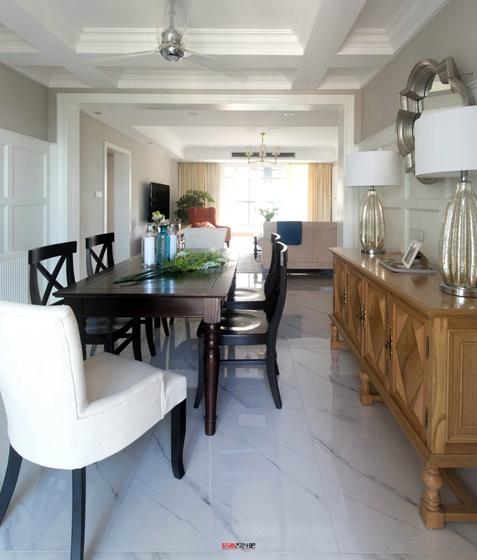 简美风格三室两厅装修餐厅效果图