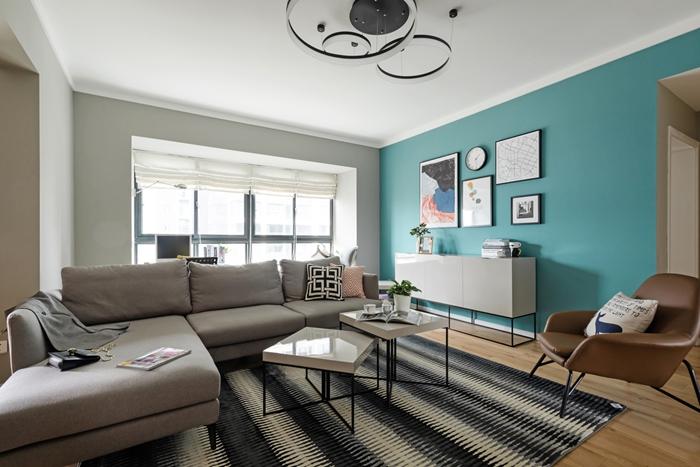 90平简约风格装修客厅沙发效果图