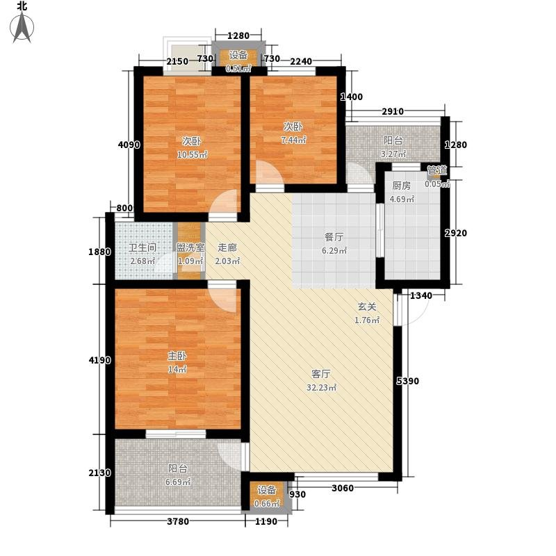 100平米三室户型图