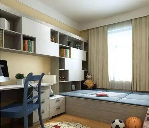 图中房价中的书桌是连着飘窗书柜一体的,这样的设计给孩子提供了一个图片