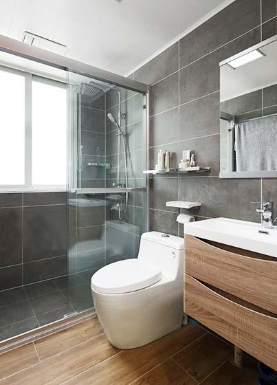 90㎡混搭二居室卫生间装修图