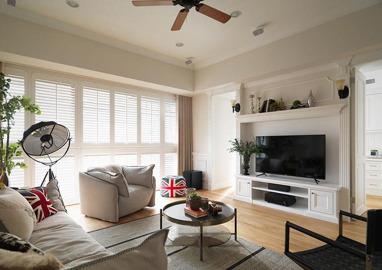 120平美式风格装修电视墙效果图