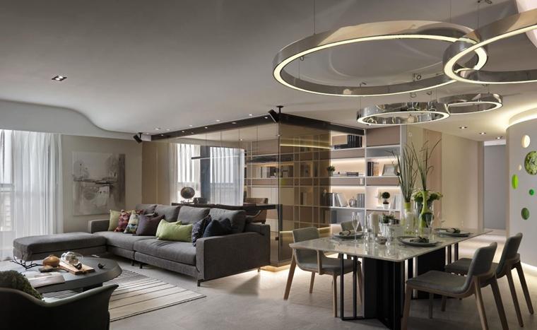 现代简约风格三居室装修客厅效果图