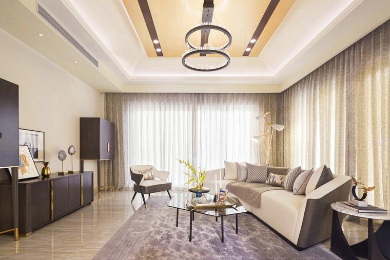 300平别墅样板间装修客厅效果图