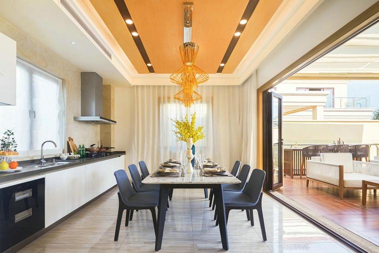 300平别墅样板间装修餐厅效果图