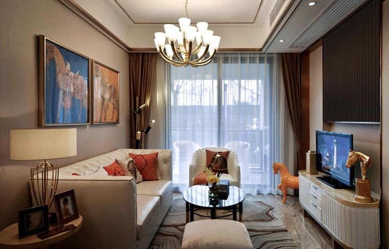 80平法式风格装修客厅效果图