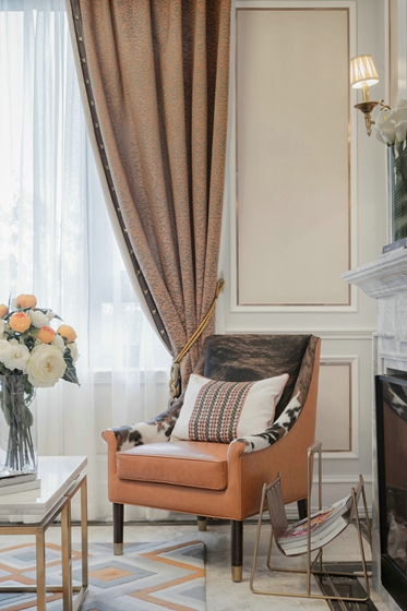 110平新中式风格三居室单人沙发图片