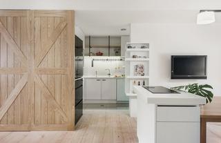 100平北欧风格装修效果图开放式厨房效果图