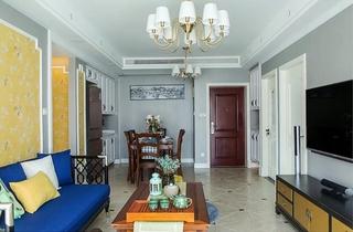 90平混搭风格两居室装修效果图客厅吊灯图片