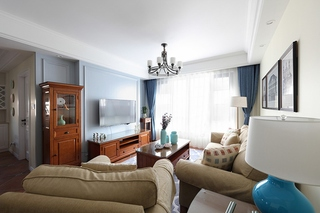 110平美式风格三居室客厅窗帘