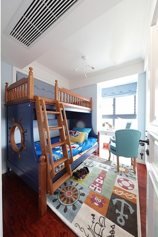 110平美式风格三居室儿童房效果图