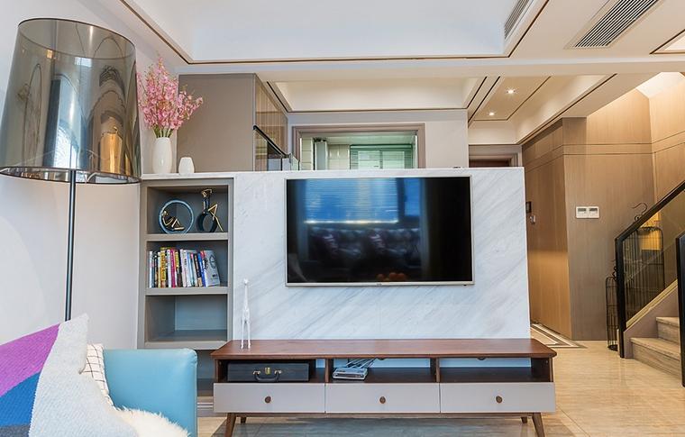 单身公寓现代简约风格装修客厅效果图