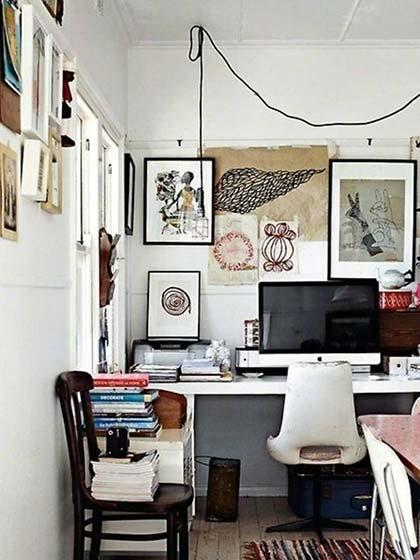 书桌挂画墙设计图