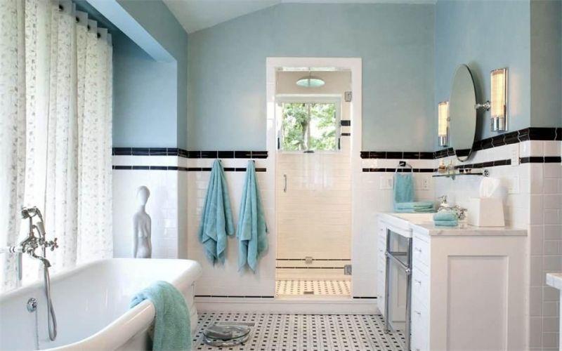 这张瓷砖墙裙装修效果图给人一种干净清新的感觉,白色的墙裙与蓝色的墙面散发出自然的味道,蓝白色的搭配使得人眼前一亮,即使卫生间里的东西再多也不会觉得杂乱无章,反而很是清新淡雅,凸显出轻松、舒适的居家氛围    墙裙能够很好的装饰墙面,甚至能够改变整体的装修风格,无论是什么样的装修墙裙都能很好的融入到当中。看完以上瓷砖墙裙装修效果图,你有没有心动呢?赶快去给你家的墙壁装上一层墙裙吧。 关注本自媒体,每天推送精选装修美图、装修案例、装修知识和经验, 为您找到更多的装修设计灵感,让新家带给您不一
