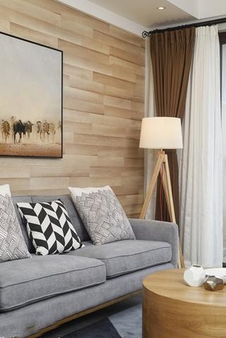 70平米简约风格装修客厅窗帘图片