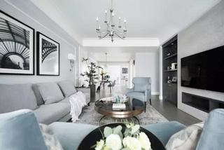 133㎡美式两室两厅客厅图片