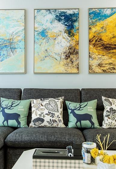 现代简约风格公寓装修沙发背景墙图片