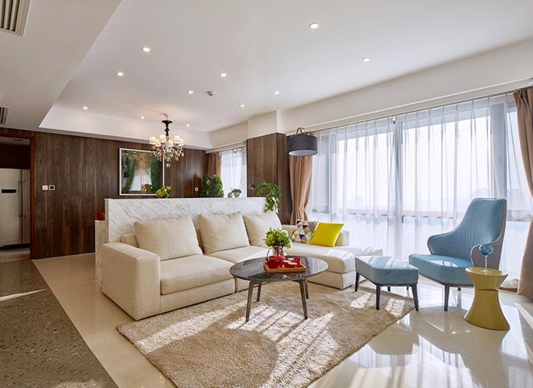 现代简约风格客厅布置摆放图